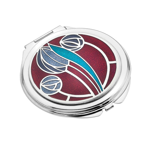 Compact Mirrors - Mackintosh Tulip And Roses Red Enamel Compact Mirror