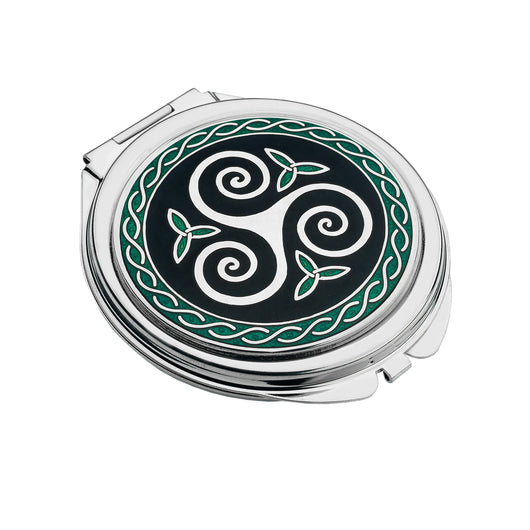 Compact Mirrors - Triskele And Trinity Knots Black And Green Enamel Compact Mirror