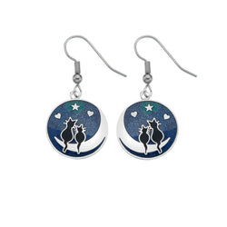 Earrings - Black Cats On The Moon Earrings