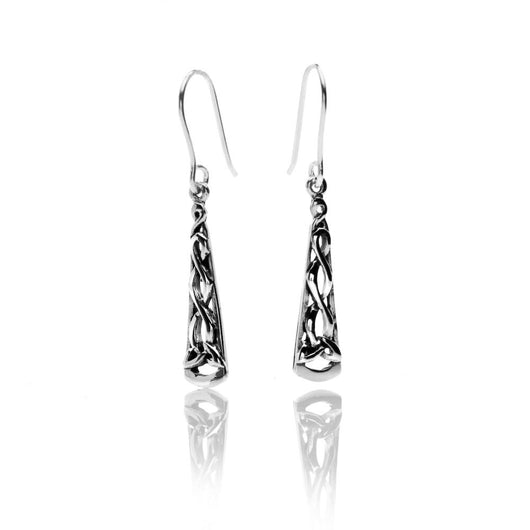 Earrings - Celtic Long Trinity Knot Earrings