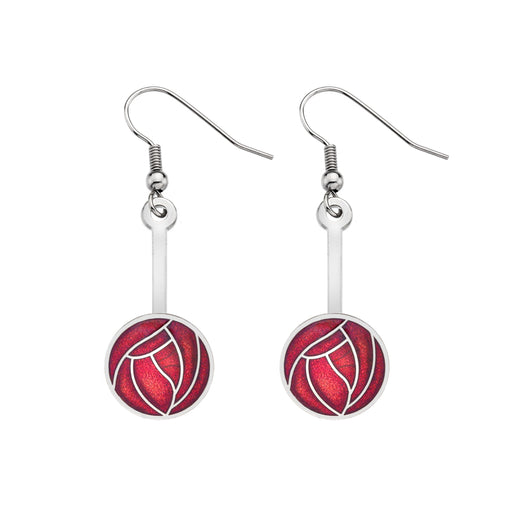 Earrings - Mackintosh Red Rose And Stick Earrings