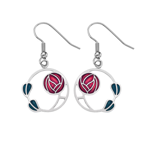 Earrings - Mackintosh Rose And Leaves Earrings