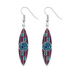 Earrings - Mackintosh Turquoise Rose With Mauve Background Pointed Oval Earrings