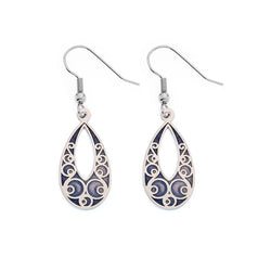 Earrings - Purple Teardrop Earrings With Circle Details