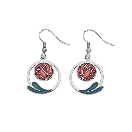 Earrings - Red Mackintosh Rose Coiled Leaf Earrings