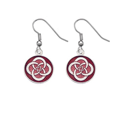 Earrings - Red Round Celtic Knot Earrings