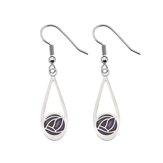 Earrings - Teardrop Earrings With Mackintosh Purple Rose