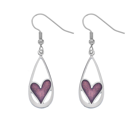 Earrings - Teardrop Earrings With Mauve Heart Detail