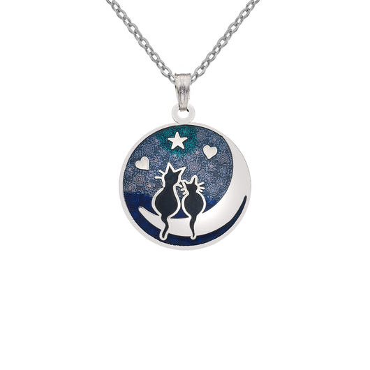 Necklaces - Black Cats On The Moon Necklace