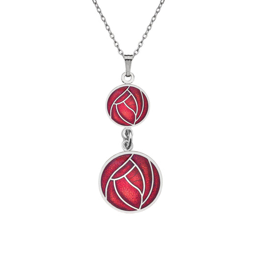 Necklaces - Mackintosh Double Rose Drop Necklace