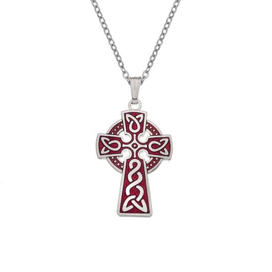 Necklaces - Red Celtic Cross Necklace With Knot Detail