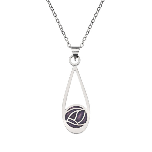 Necklaces - Teardrop Necklace With Mackintosh Purple Rose