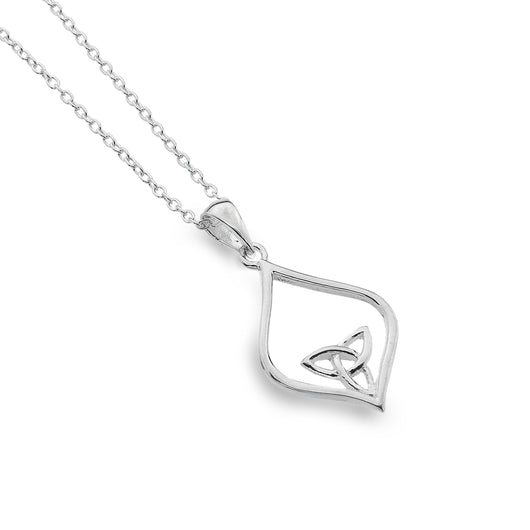 Pendants - Sterling Silver Celtic Trinity Knot Pointed Oval Pendant
