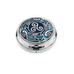 Pillboxes - Blue Celtic Birds With A Triskele Centre Enamel Pillbox