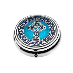 Pillboxes - Blue Celtic Cross Large Enamel Pillbox