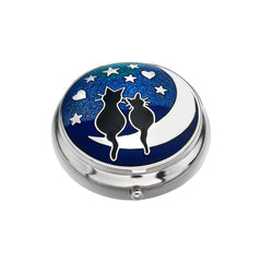 Pillboxes - Cats On The Moon Enamel Pillbox