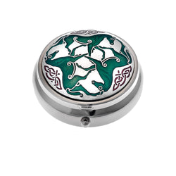 Pillboxes - Celtic Green Horses With Knot Detail Enamel Pillbox