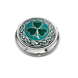 Pillboxes - Celtic Shamrock Enamel Pillbox