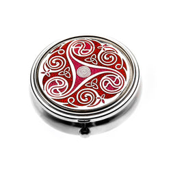Pillboxes - Celtic Triskele Durrow Red Enamel Large Pillbox