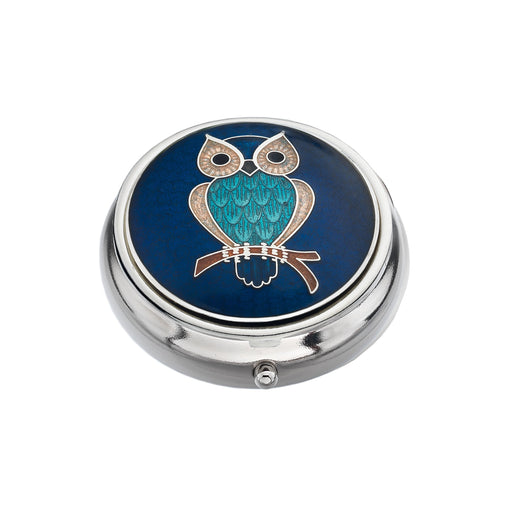 Pillboxes - Turquoise Owl Enamel Pillbox