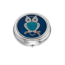Pillboxes - Turquoise Owl Large Enamel Pillbox