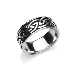Rings - Mens Oxidised Knotwork Ring