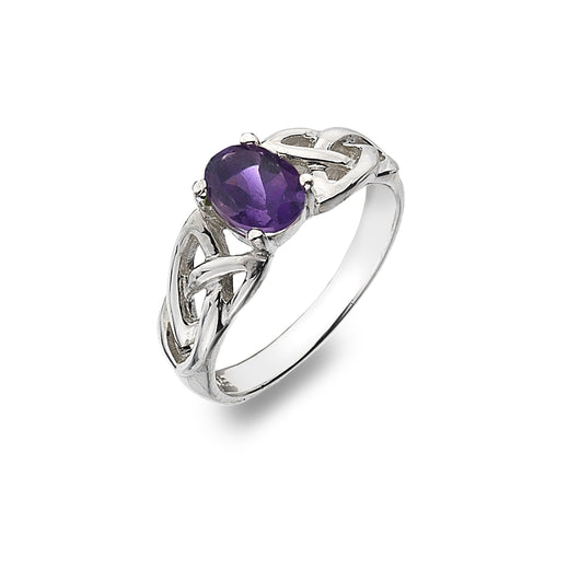 Rings - Sterling Silver Amethyst Ring With Trinity Knot Detail