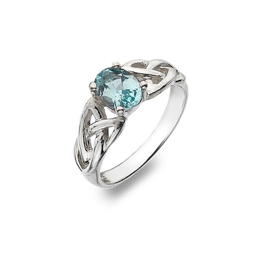 Rings - Sterling Silver Blue Topaz Ring With Trinity Knot Detail