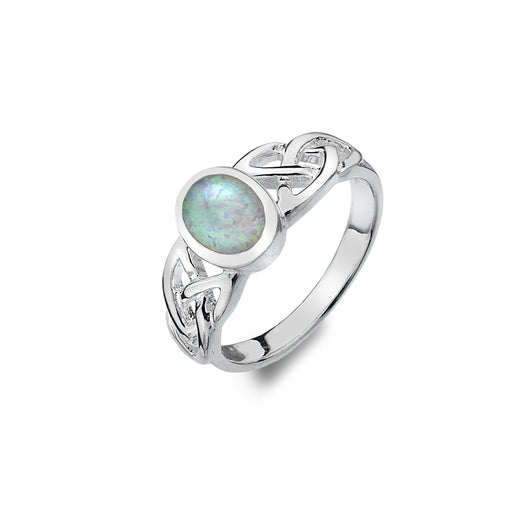 Rings - Sterling Silver Synthetic Opal Ring With Trinity Knot Detail