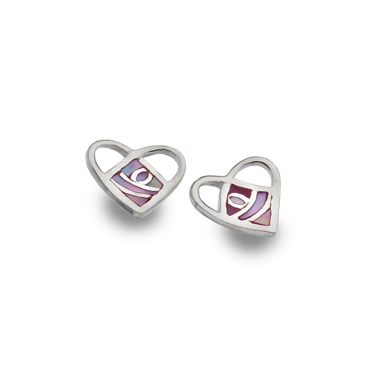 Studs - Mother Of Pearl Mackintosh Love Heart Studs