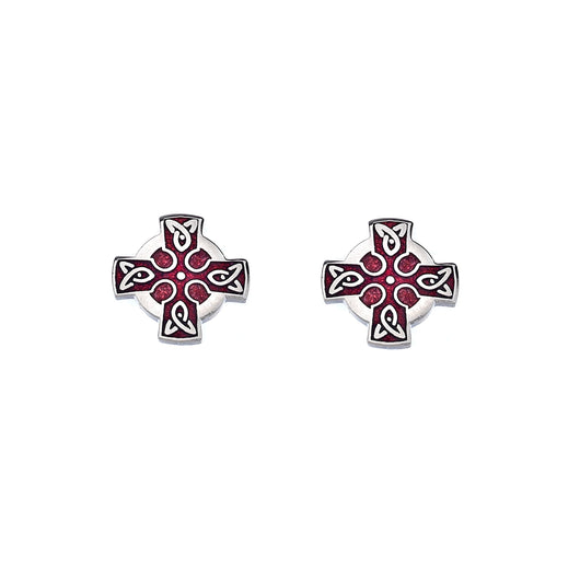 Studs - Red Celtic Cross Studs