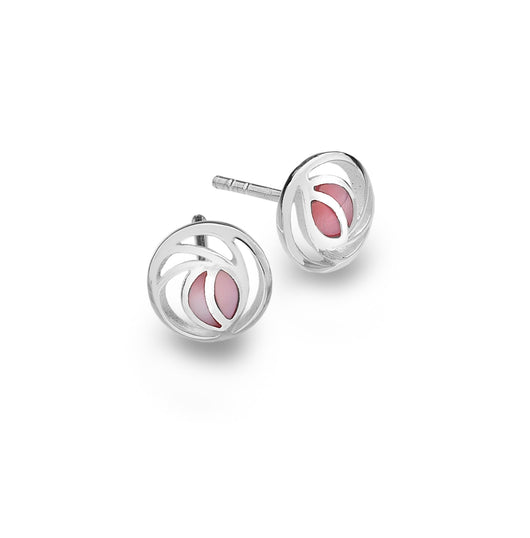 Studs - Sterling Silver Mackintosh Rose With Pink Mother Of Pearl Detail Studs