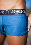 GODIIVA PRO RUNNING SHORTS - BLUE PALM