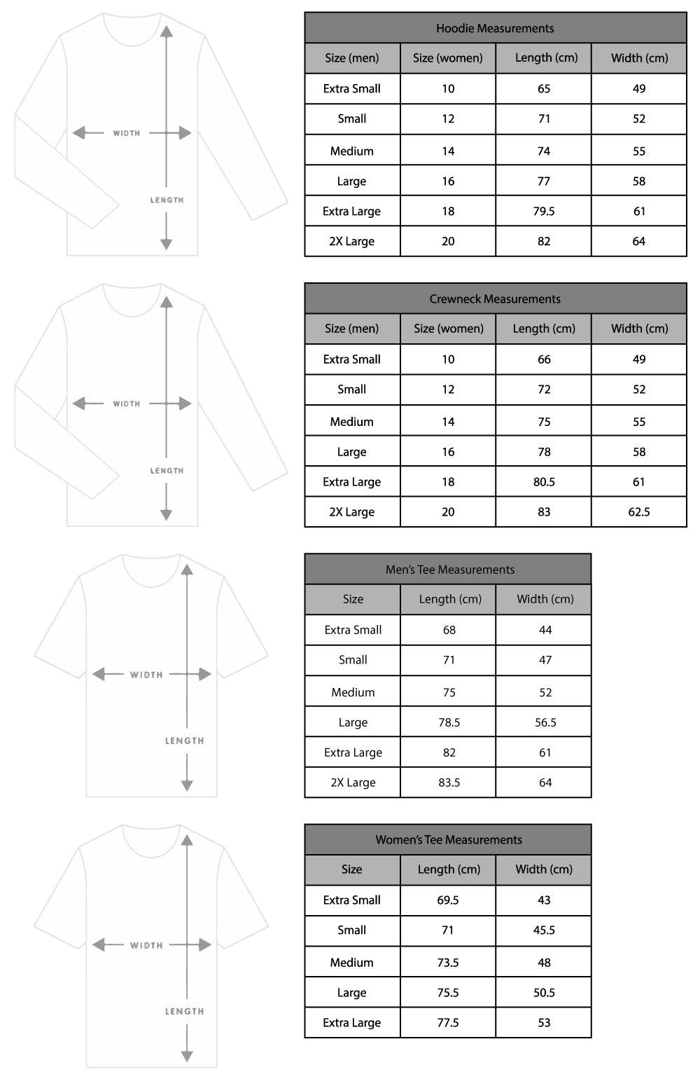 Sprngll mens & women's measurements for tees, hoodies and crewnecks