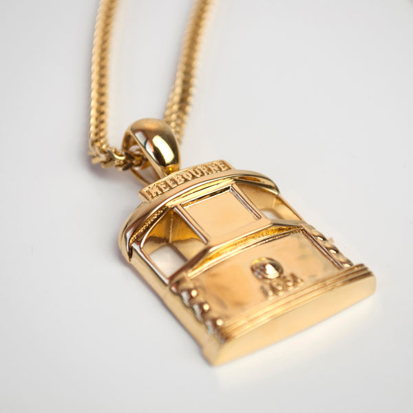 Gold Tram pendant side view