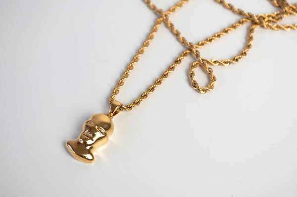 Gold Balaclava Pendant Chain diagonal front view