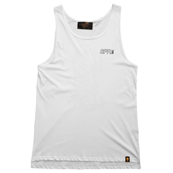 White singlet front with small SPR melb logo on front left