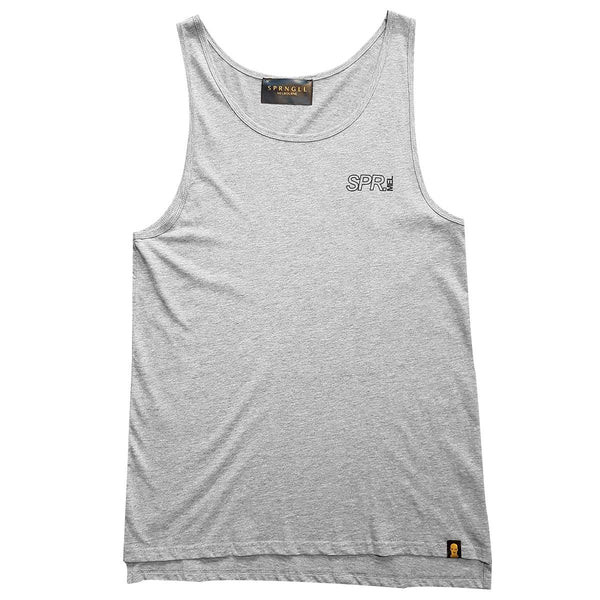 Grey singlet front with small SPR melb logo on front left