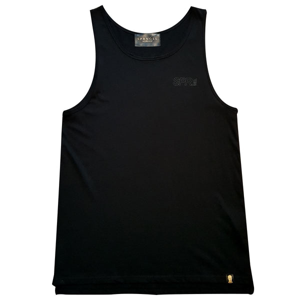 Black singlet front with small SPR melb logo on front left