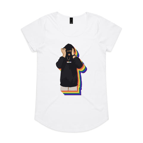 Rainbow Baller White Womens Tee