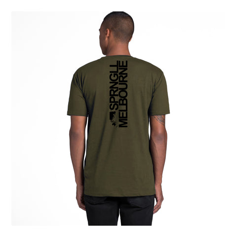 Bold Map Army Green Tee