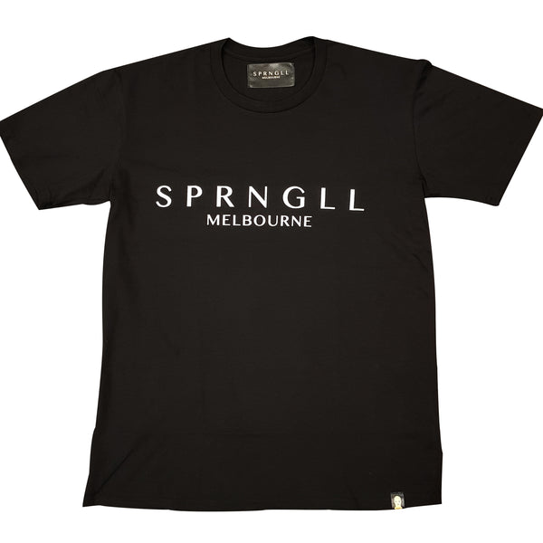 Men's Black Tee Shirt with SPRNGLL Melbourne branded on the front in the centre