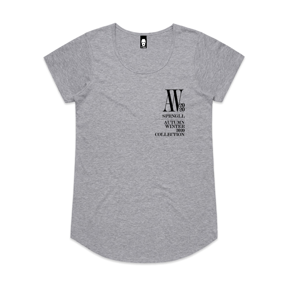 Chest AW Logo Womens Tee Grey Marle
