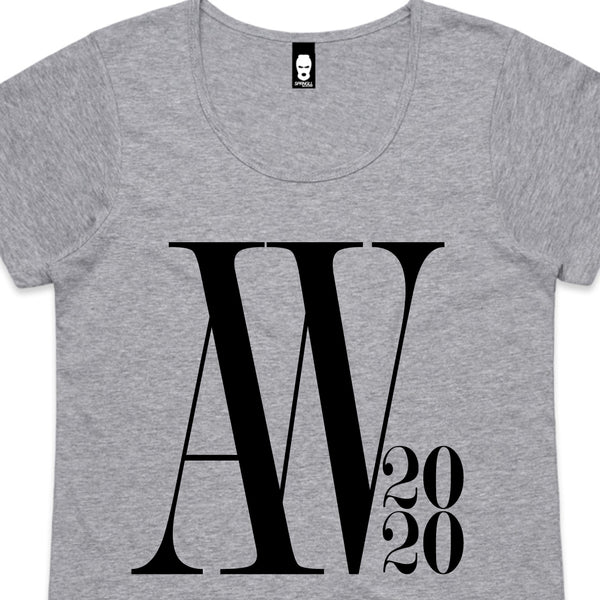 Oversized AW Logo Womens Tee Grey Marle