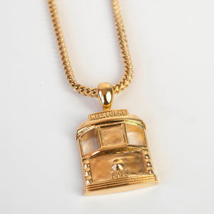 Gold Tram pendant with chain front view