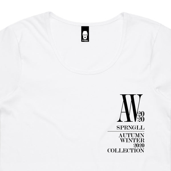 Chest AW Logo Womens Tee White