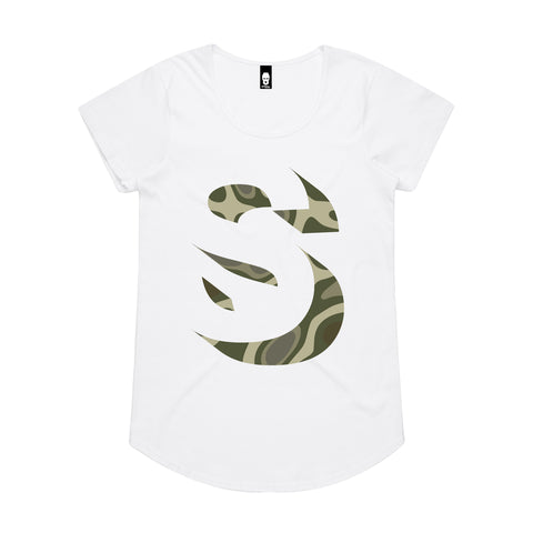Oversized Camo S Womens Tee White/Camo