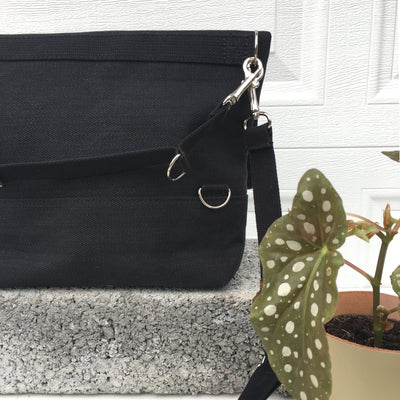 Umi Bag - Black Canvas | Tote, shoulder bag, backpack, tote and backpack in one, shoulderbag backpack in one, flop top bag, shoulder bag, messenger bag, cycle to work, versatile bag, one bag many uses, handmade, waxed canvas, vegan bag, leather free bag, cycling