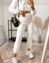 Raya Off White Teddy Borg Cropped Top & Jogger Lounge Set