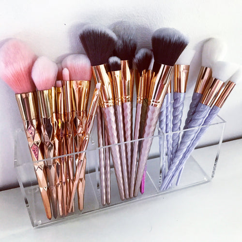 Clear  Acrylic 3 Long Section Makeup brush Holder